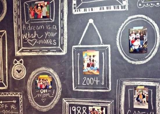 Blackboard washi tape gallery wall