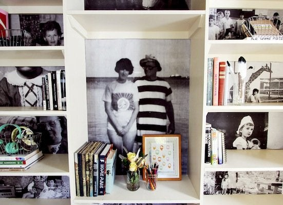 Bookshelf photo display