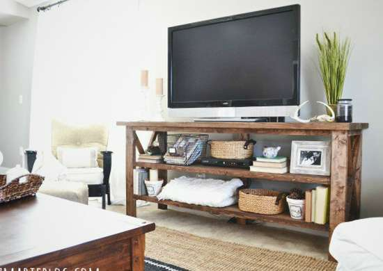 Rustic tv stand diy tv stand 10 doable designs bob vila for Block tv stand
