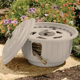 Garden Hose Storage Ideas recycled water hose basket Decorative Taupe Pot Hose Reel