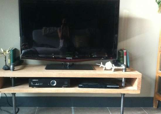 Diy pipe table diy tv stand 10 doable designs bob vila Design your own tv room