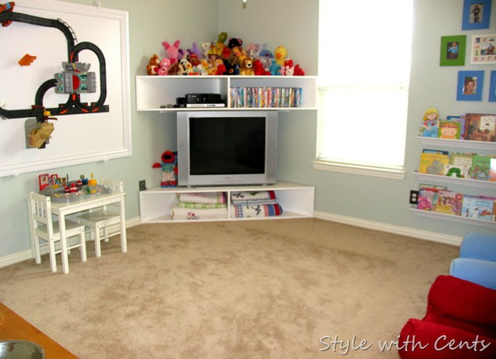 Kids room storage ideas diy tv stand 10 doable designs Design your own tv room