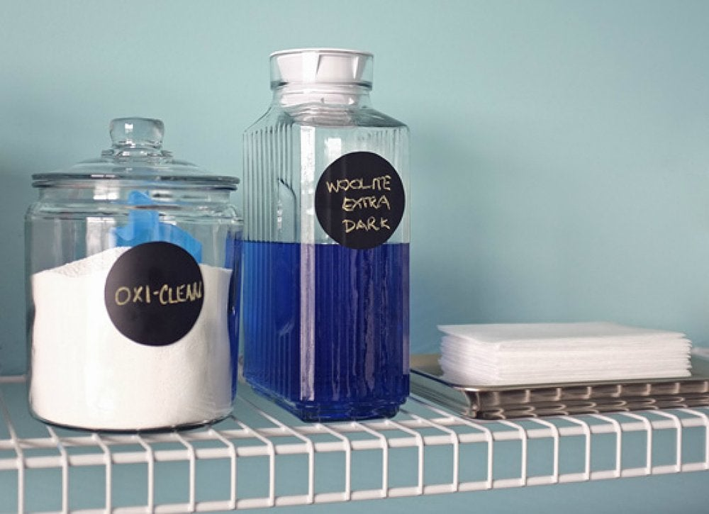 containers of detergent starch and stain remover are often bulky and can take up way too much space in the laundry room sub in clear glass canisters or