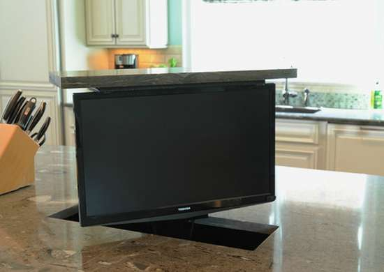 TV Hidden in Kitchen Island
