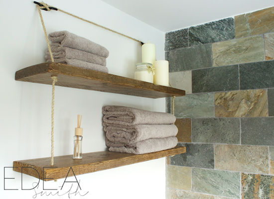 Diy bathroom rope shelf