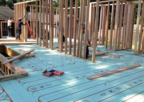 New home radiant heating installation