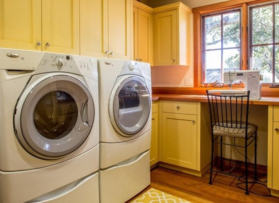 Two rooms in one   laundry room work station