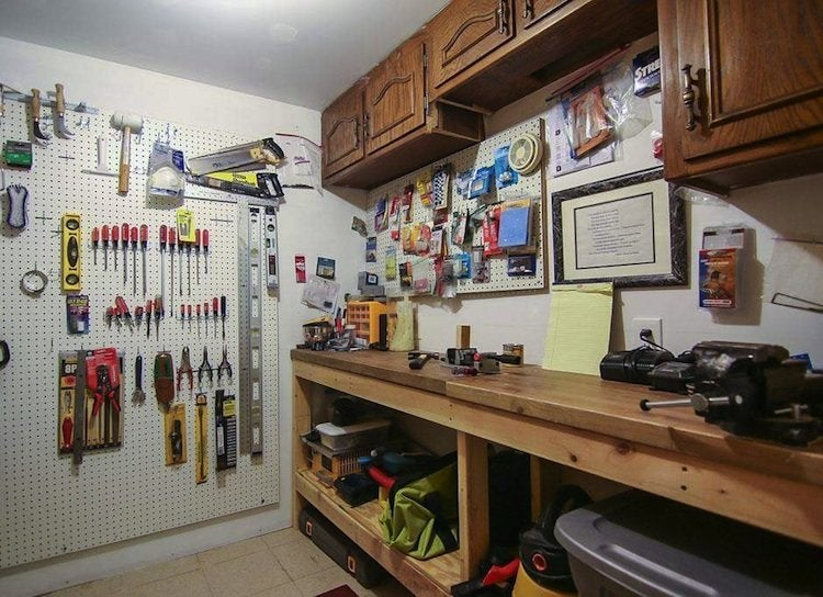 Pegboard storage basement