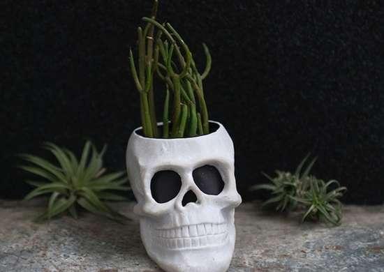 Diy halloween skull planter