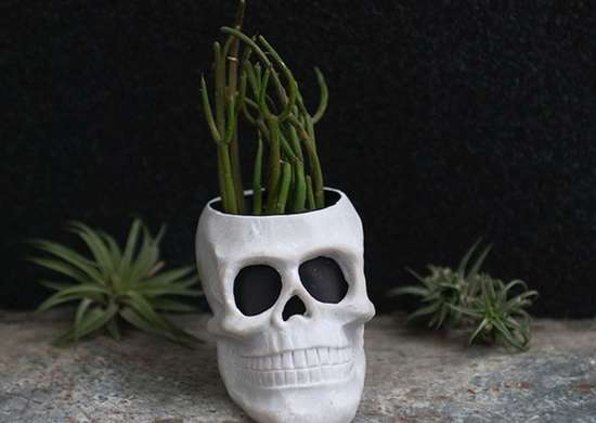 Diy halloween skull planter