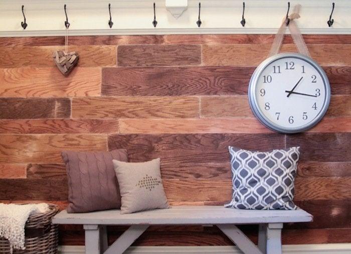 Entryway plank wall