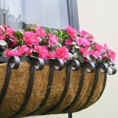 Hooksandlattice scroll iron window boxes coco coir liner