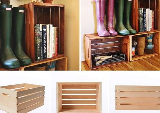 Wood crate home organization