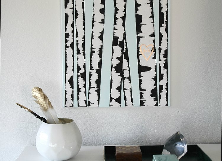 Canvas birch wall art