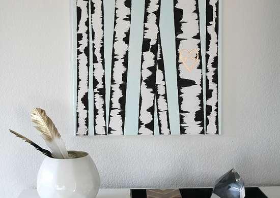 Canvas birch wall art