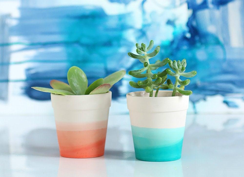 Lazy diy dip dye plant pots