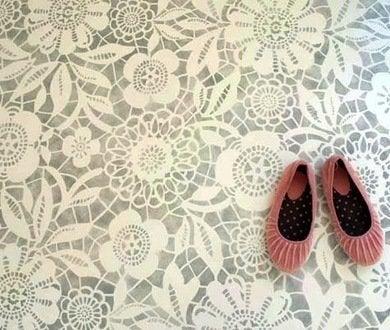 Mymarrakesh lace stencil floor guest house