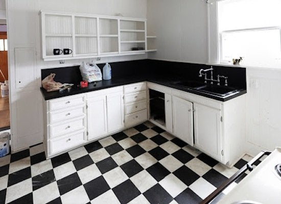 Kitchen makeover checkerboard floors   before