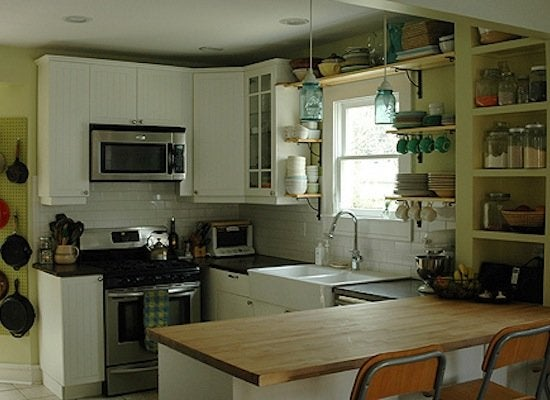 Kitchen makeover after   butcher block counter