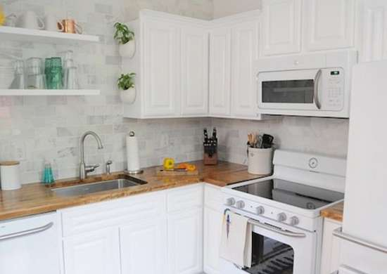 White Kitchen with Butcher Block