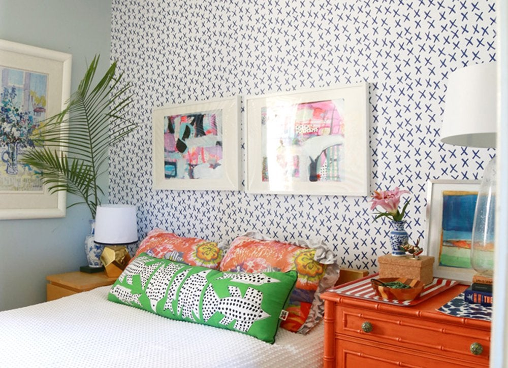 Diy bedroom ideas   removable wallpaper