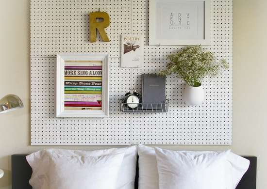 Diy bedroom ideas   pegboard heabdoard