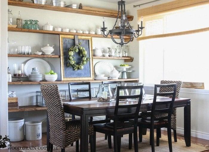 Shelves in dining room
