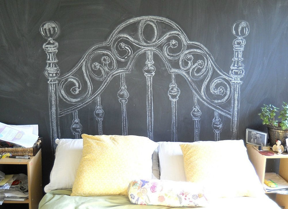 chalkboard headboard how to make a headboard 14 diy designs bob vila. Black Bedroom Furniture Sets. Home Design Ideas