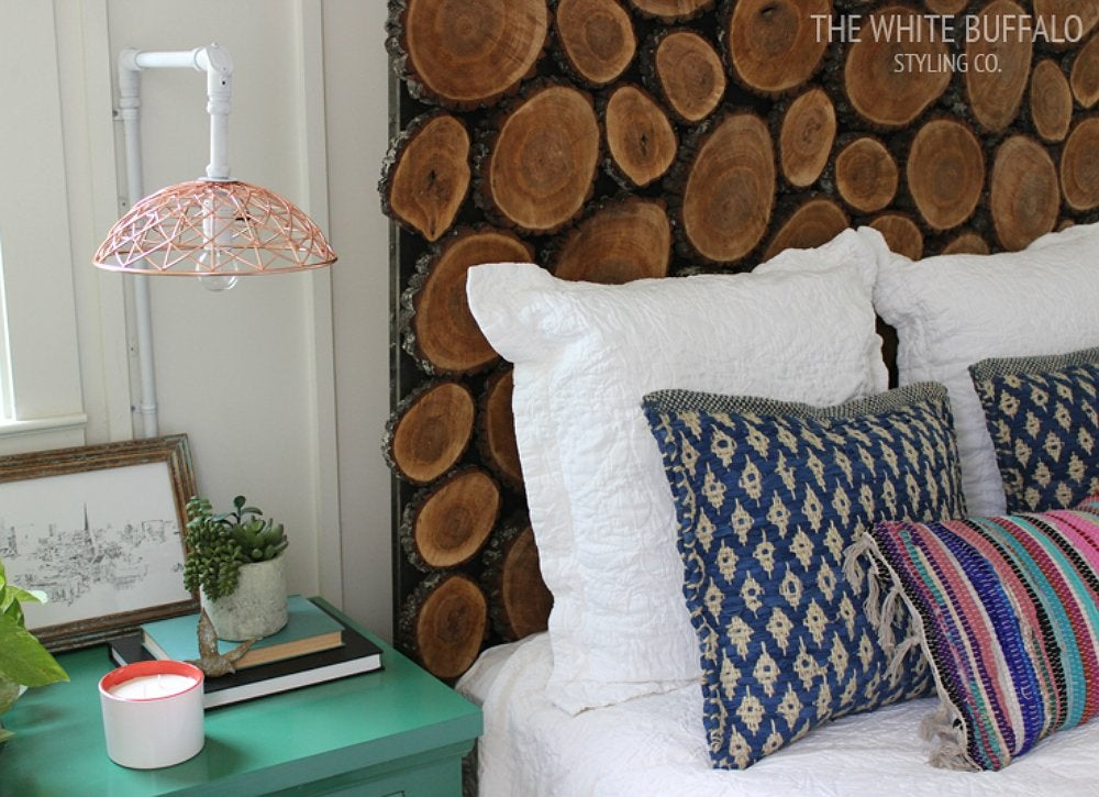 Diy wood slice headboard 9