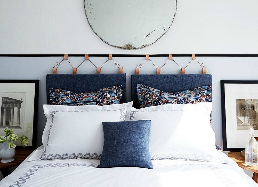 Hanging headboard how to make a headboard 14 diy for Makeshift headboard