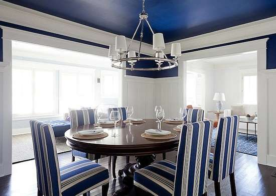 White and blue dining room