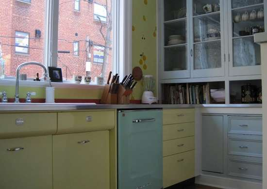 Pastel Yellow and Blue Kitchen