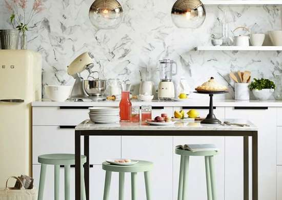 Kitchen Island with Pastel Stools