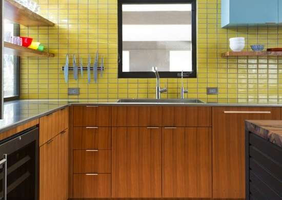 Kitchen with Yellow Backsplash