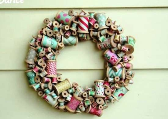 Wooden Spool Wreath