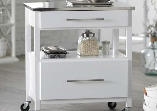 Belham Living White Mini Concord Kitchen Island with Stainless Steel Top