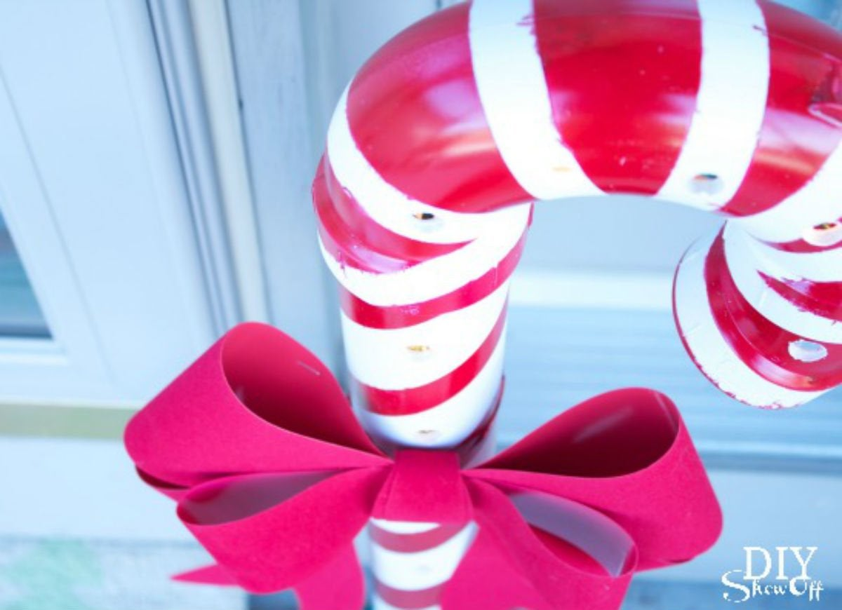 Outdoor holiday lights   giant candy cane