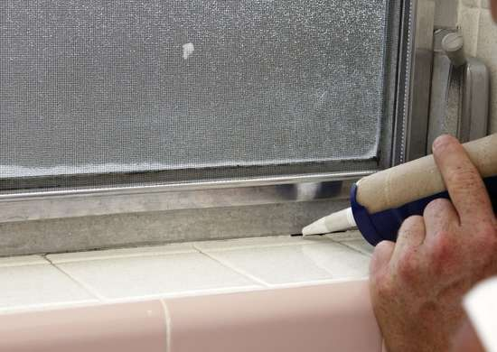 Caulk a window