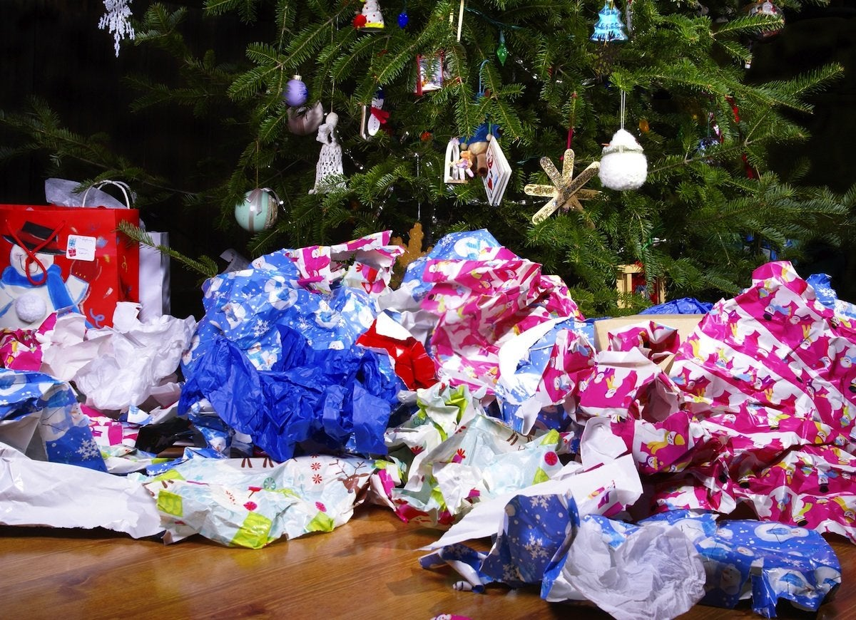 Christmas wrapping paper trash