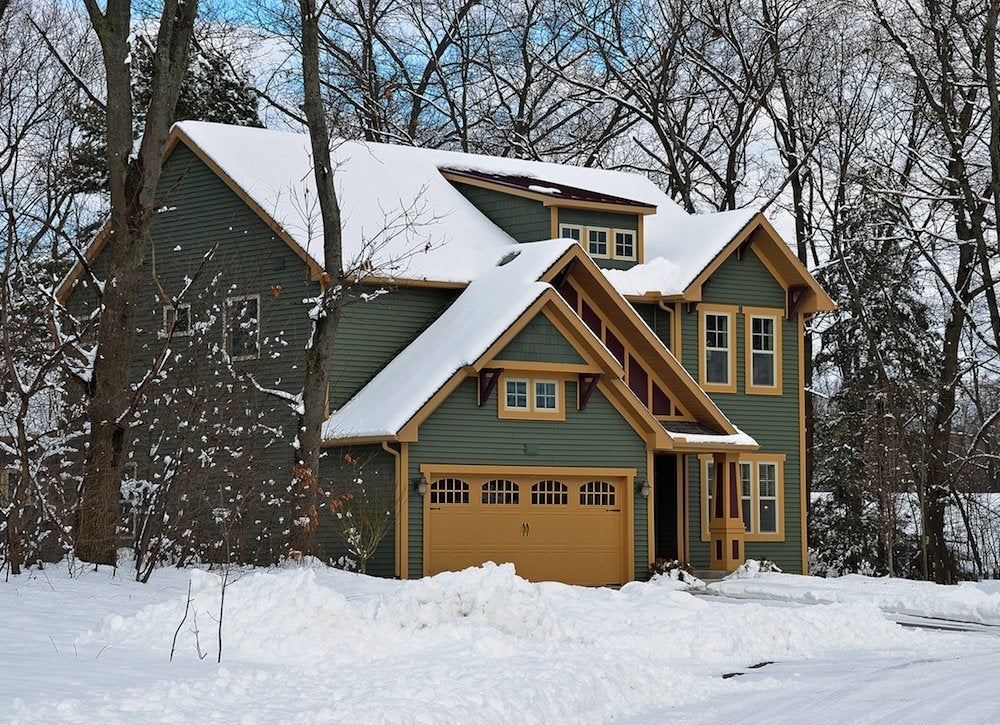 House in winter snow