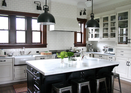 White Kitchen with Black Island