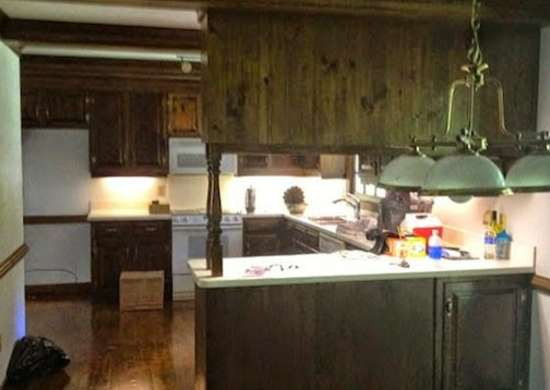 Dated Wood Kitchen Cabinets