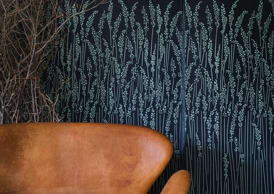 Navy patterned wallpaper