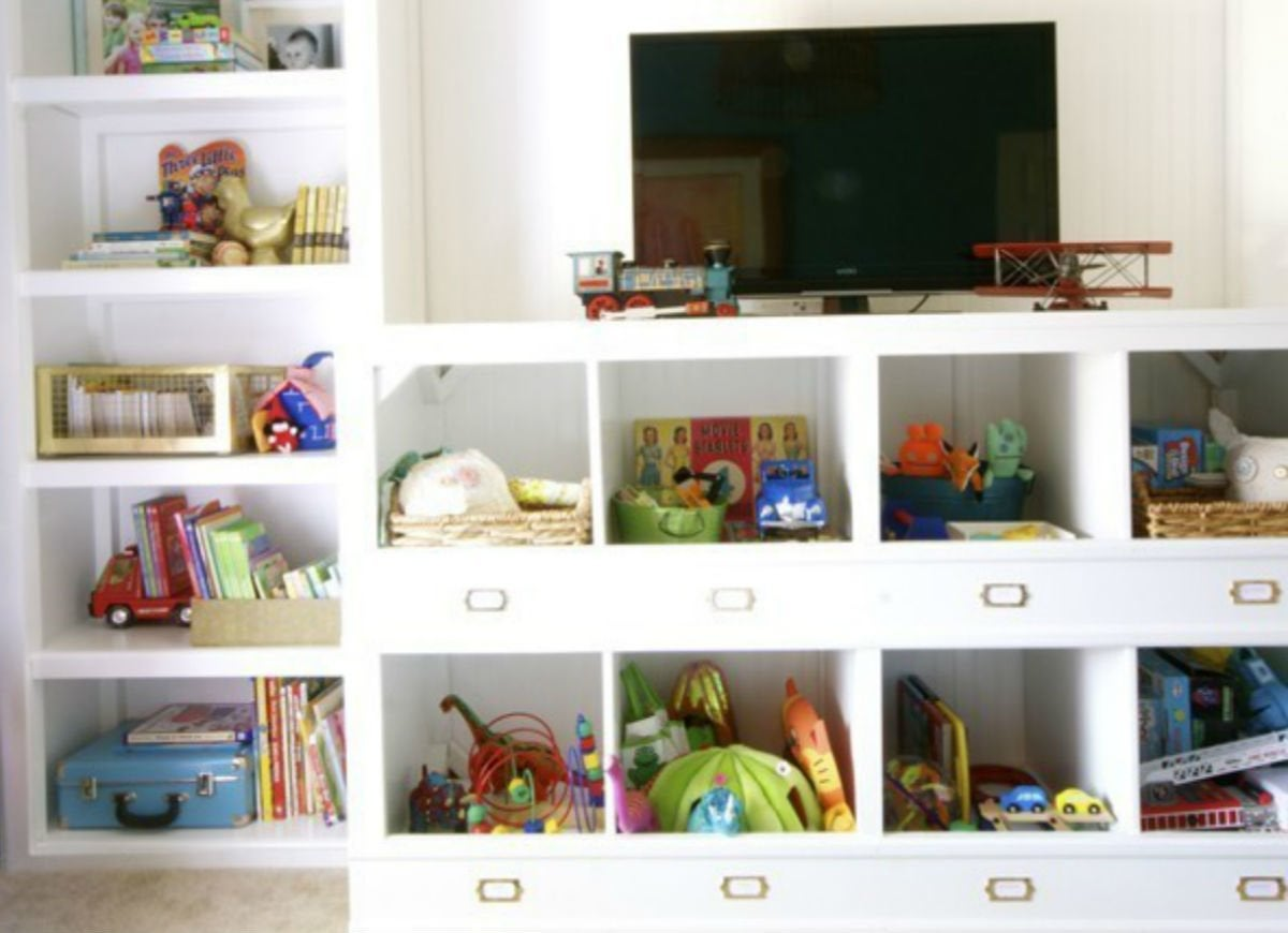 Toy storage   entertainment center cubbies