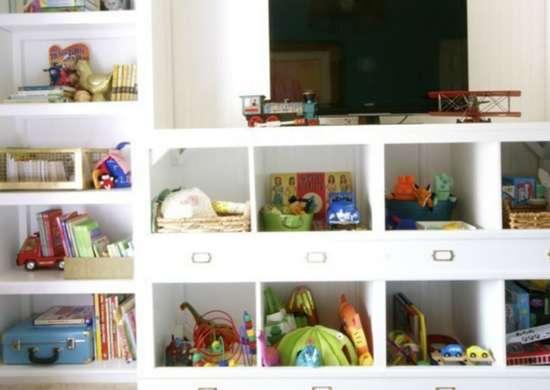 Toy storage   entertainment center cubbies