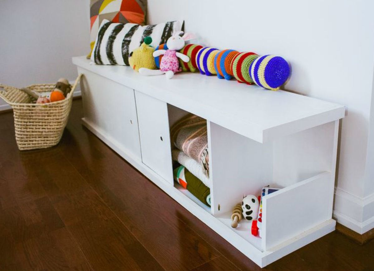 Toy storage   sliding bench