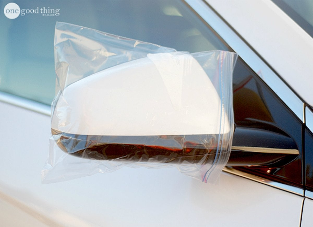 Cover car mirror with bags