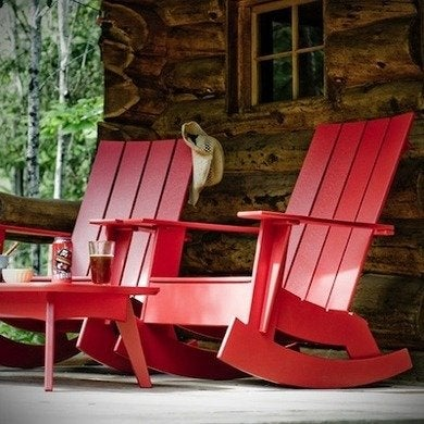 Loll recycled plastic adirondack rocking chairs 4.slat.rocker.red.2