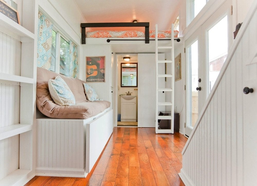 White tiny home interior 18 storage ideas for small for Interior designs for tiny houses