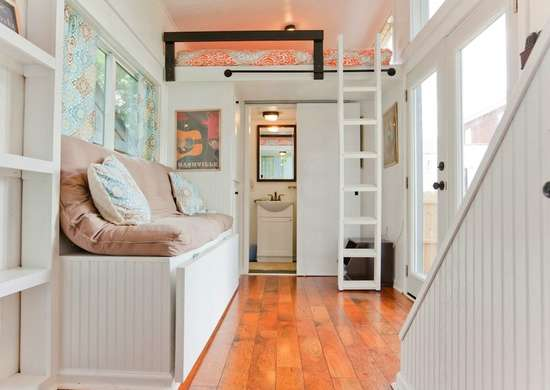 White tiny home interior